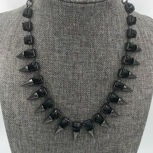 Gunmetal Black Crystal Spike Necklace New w/ Tag
